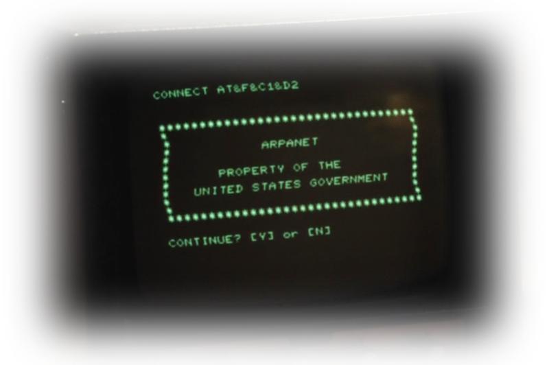 Pantalla de inicio de ARPANET