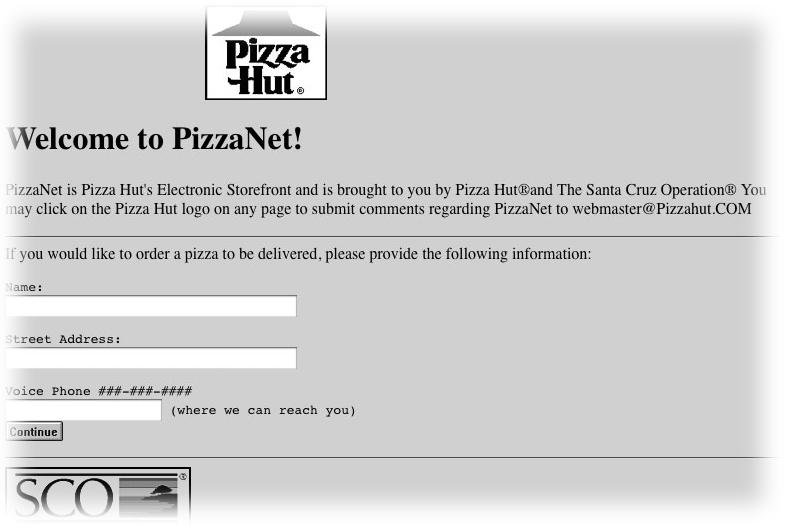 Página de Pizza Hut en 1994