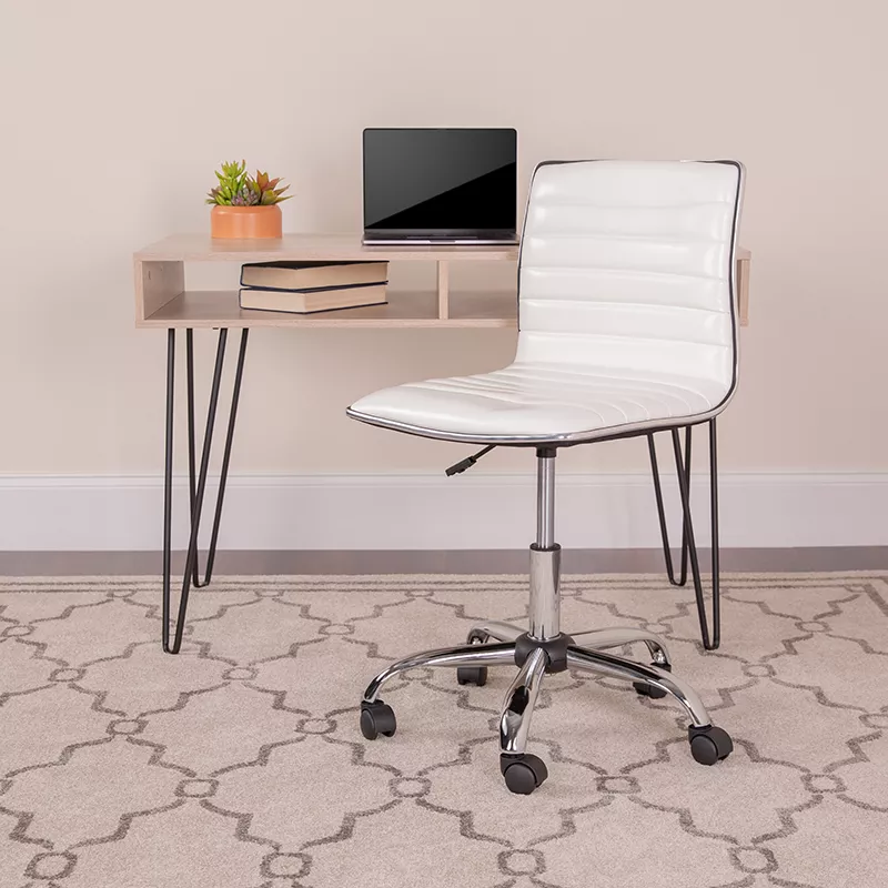 Low Back Armless White Ribbed Designer Swivel Task Chair by Flash Furniture
